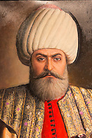 Portrait painting Sultan Osman Bey, Osman I, Osman Gazi, leader of Ottoman Empire at Military Museum, Istanbul, Turkey
