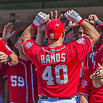 23 August 2015: Washington Nationals catcher Wilson Ramos returns to the dugout after hitting a solo home run in the 5th inning against the Milwaukee Brewers at Nationals Park in Washington, DC. The Nationals defeated the Brewers 9-5 in the third game of their 3-game weekend series. Mandatory Credit: Ed Wolfstein Photo *** RAW (NEF) Image File Available ***