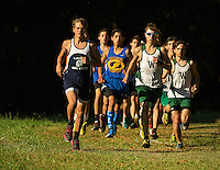Woodlawn School Varsity Boys Cross Country runners on their way to winning the S.P.A.A. Boys Cross Country Tournament Championship,Thursday afternoon October 16, 2014 at Fisher Farms in Davidson, NC.<br /> <br /> Charlotte Photographer - PatrickSchneiderPhoto.com