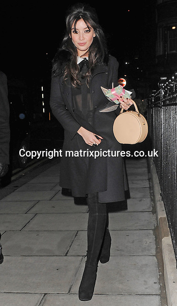 NON EXCLUSIVE PICTURE: PALACE LEE / MATRIXPICTURES.CO.UK<br /> PLEASE CREDIT ALL USES<br /> <br /> WORLD RIGHTS<br /> <br /> English fashion model Daisy Lowe is pictured as she arrives at the London Edition Hotel, for Alexa Chung's birthday party in London. <br /> <br /> NOVEMBER 9th 2013<br /> <br /> REF: LTN 137276
