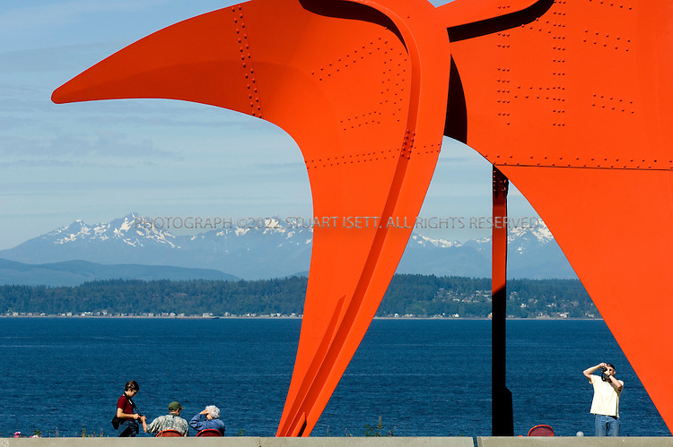 """6/26/2007--Seattle, WA, USA..The Seattle Art Museum's Olympic Sculpture Park opened in 2007 on industrial land on Puget Sound in Seattle's Belltown district with views of Puget Sound and the Olympic Mountains...""""Eagle"""".Artist: Alexander Calder (1898-1976).Date: 1971.Media: Painted steel.Dimensions: 38 feet 9 inches by 32 feet 6 inches by 32 feet 6 inches.Acquisition: Gift of Jon and Mary Shirley..Photograph ©2007 Stuart Isett.All rights reserved"""
