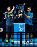 Doubles trophy winners Henri Kontinen (L) and John Peers (R). Nitto ATP Finals Tennis Championships, O2 Arena London, England,19th November 2017.