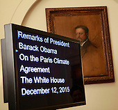 A portrait of former United States President Theodore Roosevelt behind the teleprompter prior to President Barack Obama making a statement on the Paris Climate Agreement in the Cabinet Room of the White House in Washington, DC on December 12, 2015.<br /> Credit: Dennis Brack / Pool via CNP
