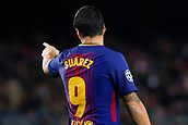 5th December 2017, Camp Nou, Barcelona, Spain; UEFA Champions League football, FC Barcelona versus Sporting Lisbon; Luis Suarez of FC Barcelona gives instruction to his teammates