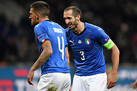 Cristiano Biraghi and Giorgio Chiellini of Italy during the Nations League League A group 3 football match between Italy and Portugal at stadio Giuseppe Meazza, Milano, November, 17, 2018 <br /> Foto Andrea Staccioli / Insidefoto