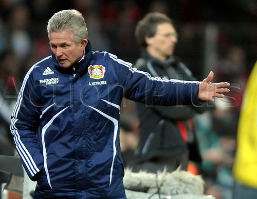 Leverkusen's head coach Jupp Heynckes gestures at the sideline during the Bundesliga match Bayer 04 Leverkusen vs 1. FC Cologne at ByArena stadium in Leverkusen, Germany, 27 February 2010. The match ended in a goalless draw. Photo: Franz-Peter Tschauner /Actionplus. Editorial Use UK.