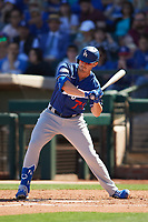 Zach McKinstry (73) of the Los Angeles Dodgers at bat during a Cactus League Spring Training game against the Texas Rangers on March 8, 2020 at Surprise Stadium in Surprise, Arizona. Rangers defeated the Dodgers 9-8. (Tracy Proffitt/Four Seam Images)