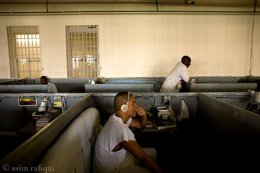 Prisoners wait out the day in the 'cubicles'<br />
