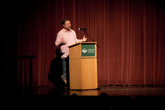 Tim Wise speaks to a group at Mem Aud on Thursday evening. Wise is the author of White Like Me: Reflections on Race from a Privileged Son; Affirmative Action: Racial Preference in Black and White; and Speaking Treason Fluently: Anti-Racist Reflections >From an Angry White Male will address Ohio University students in a presentation at Templeton-Blackburn Alumni Memorial Auditorium. His newest book, Between Barack and a Hard Place: Race and Whiteness in the Age of Obama, is set to be released in the spring of 2009.