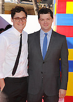 WWW.BLUESTAR-IMAGES.COM  Directors Phil Lord (L) and Chris Miller arrive at the Los Angeles premiere of 'The Lego Movie' held at Regency Village Theatre on February 1, 2014 in Westwood, California.<br /> Photo: BlueStar Images/OIC jbm1005  +44 (0)208 445 8588