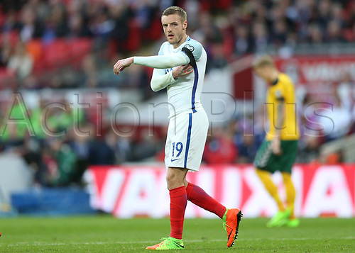 March 26th 2017, Wembley Stadium, London, England; World Cup 2018 Qualification football, England versus Lithuania; Jamie Vardy of England looks on