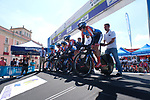 WNT Rotor Pro Cycling Team on the start ramp during Stage 1 of the Madrid Challenge by La Vuelta, a team time trial running 12.6km from Boadilla del Monte to Boadilla del Monte, Spain. 15th September 2018.                   <br /> Picture: Unipublic/Vicent Bosch | Cyclefile<br /> <br /> <br /> All photos usage must carry mandatory copyright credit (&copy; Cyclefile | Unipublic/Vicent Bosch)