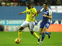 Blackburn Rovers' Ryan Nyambe and Wigan Athletic's Gary Roberts<br /> <br /> Photographer Rachel Holborn/CameraSport<br /> <br /> The EFL Sky Bet Championship - Wigan Athletic v Blackburn Rovers - Wednesday 28th November 2018 - DW Stadium - Wigan<br /> <br /> World Copyright © 2018 CameraSport. All rights reserved. 43 Linden Ave. Countesthorpe. Leicester. England. LE8 5PG - Tel: +44 (0) 116 277 4147 - admin@camerasport.com - www.camerasport.com