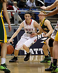 Liberty Patriots' Kealy Brown drives past Manogue defenders in the Division I semi-final game at the NIAA basketball state tournament at Lawlor Events Center, in Reno, Nev., on Thursday, Feb. 27, 2014. Liberty won 43-33. (Cathleen Allison/Las Vegas Review-Journal)