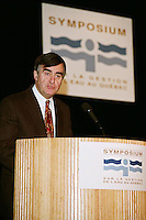 Montreal (Qc) CANADA - December 10, 1997<br /> -File Photo -<br /> Lucien Bouchard,Premier of Quebec speak at Sympeau - symposium sur l'eau held at Montreal Convention Centre.<br /> <br /> Bouchard was the Premier of Quebec from January 26, 1996 to March 8, 2001.