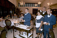 June, 1977. Havana, Cuba. Eighteen years after the Cuban Revolution the first U.S. tourists were permitted to visit Havana. In Parque De Lenin, the select restaurant Las Ruinas, is only for the political communist regime dignitaries. The waiters who work at the restaurant built it themselves.