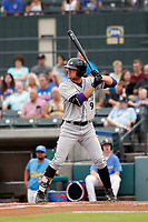 Winston-Salem Dash right fielder Blake Rutherford (9) at bat during a game against the Myrtle Beach Pelicans at Ticketreturn.com Field at Pelicans Ballpark on July 23, 2018 in Myrtle Beach, South Carolina. Winston-Salem defeated Myrtle Beach 6-1. (Robert Gurganus/Four Seam Images)