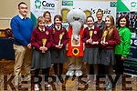 Students from the Muire Gan Smál NS in Castleisland were runners up in the U13 quiz at the Cara Credit Union Quiz in the Brandon Hotel on Sunday.  Pa Laide (Manager Cara Credit Union), Claire Smith (Teacher), students Colene O'Callaghan, Bella Harmon, Eilish Enright and Bláithín O'Mahoney with Caroline Sugrue and Siobhan Donnelly of the Cara Credit Union.