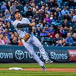 16 September 2017: Colorado Rockies third baseman Nolan Arenado gets the second out of the third inning against the San Diego Padres at Coors Field in Denver, Colorado. The Rockies shut out the Padres in a 16-0 route of the second game in their 3-game divisional series. Mandatory Credit: Ed Wolfstein Photo *** RAW (NEF) Image File Available ***