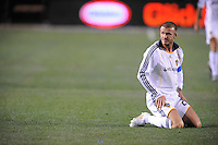 Los Angeles Galaxy's David Beckham after being knocked down during game against the New York Red Bulls at the Home Depot Center in Carson, Ca on Saturday, May 10, 2008. N.Y 2, L.A. 1.