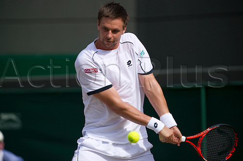 June 30th 2010: Wimbledon International Tennis Tournament held at the All England Lawn Tennis Club, London, England,  Robin Soderling of Sweden playing Rafael Nadal of Spain in the mens singles quarter finals
