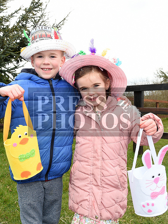 Cian and Bláithín Hamill at the Easter Bonnnet competition at Newgrange Farm. Photo:Colin Bell/pressphotos.ie