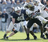 State College, PA -- 11/3/2007 --  Linebacker Dan Connor (40) and Abe Koroma tackle running back Jaycen Taylor during the first half.  Penn State defeated Purdue by a score of 26-19 on Saturday, November 3, 2007, at Beaver Stadium.  Connor made 11 tackles during the game and surpassed Paul Posluszny to set the Penn State record for most career tackles. ..Photo:  Joe Rokita / JoeRokita.com