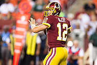 Landover, MD - August 16, 2018: Washington Redskins quarterback Colt McCoy (12) in action during preseason game between the New York Jets and Washington Redskins at FedEx Field in Landover, MD. (Photo by Phillip Peters/Media Images International)