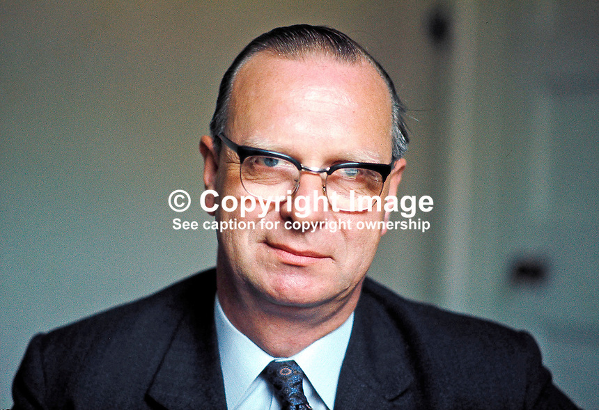 Gerry Fitt, Republican Labour candidate for West Belfast, in the June 18 UK General Election. He retained the seat. Later was founding member of SDLP. Colour. Ref: 19700528001 (Linenhall 184/70). <br />
