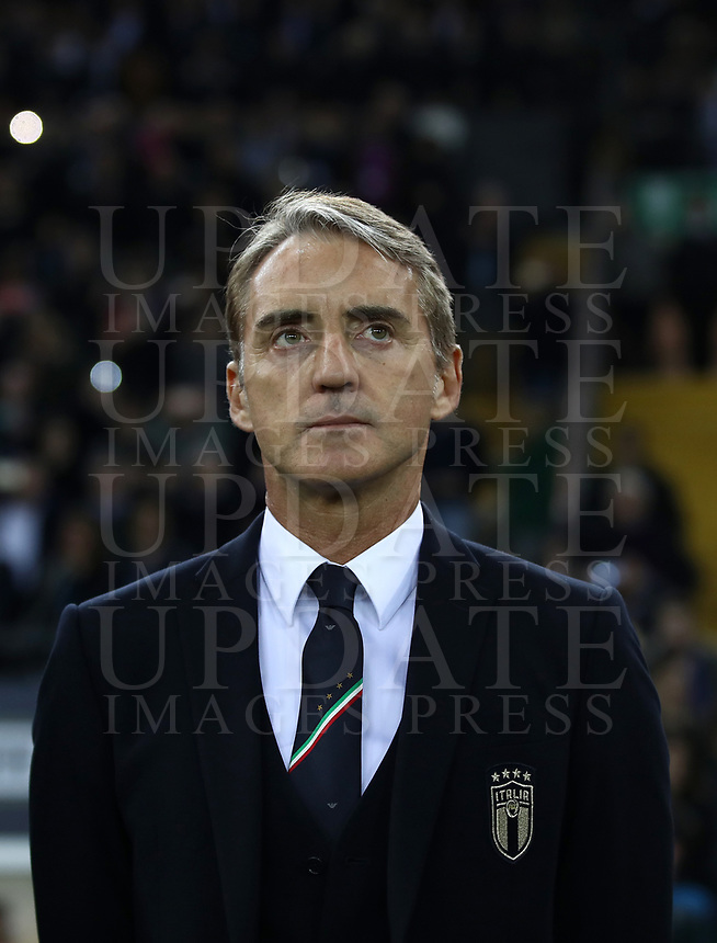 Football: Euro 2020 Group J qualifying football match Italy vs Finland at the Friuli Stadium in Udine on march  23, 2019.<br /> Italy's national team coach Roberto Mancini during the Italy national anthem prior to the Euro 2020 qualifying football match between Italy and Finland at the Friuli Stadium in Udine, on march 23, 019<br /> UPDATE IMAGES PRESS/Isabella Bonotto