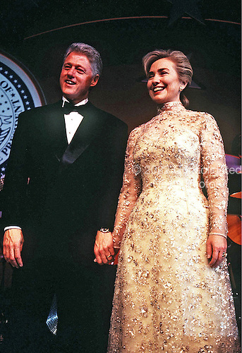 United States President Bill Clinton and first lady Hillary Rodham Clinton appear at one of the inaugural balls as they celebrate the start of the President's second four year term in office in Washington, DC on January 20, 1997.<br /> Credit: Brad Markel / Pool via CNP