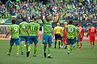 SEATTLE, WA - NOVEMBER 10: Seattle Sounders defender Kelvin Leerdam #18 celebrates after scoring a goal during a game between Toronto FC and Seattle Sounders FC at CenturyLink Field on November 10, 2019 in Seattle, Washington.