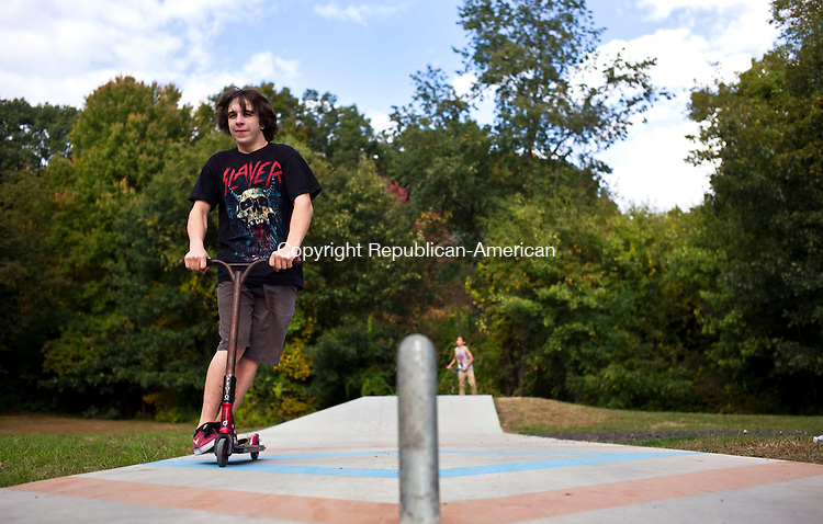 Plymouth, CT- 08 October 2015-100815CM04-  ​<br /> Frankie Buckley, 15 of Terryville takes a spin on a scooter at the The Plymouth Skate Park on Thursday.  The Plymouth Skate Park committee held an appreciation ceremony to recognize the individuals, organizations and foundations who helped build the park.     Christopher Massa Republican-American