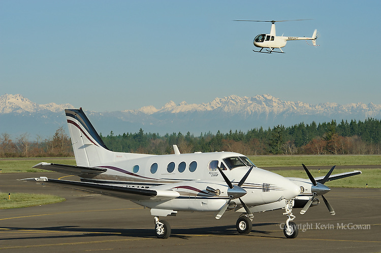 Corporate Plane and Helicopter at Tacoma Narrows Airport