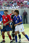 6 June 2004: Joy Fawcett (14), Nozomi Yamago (1), and Ayako Kitamoto (21). The United States tied Japan 1-1 at Papa John's Cardinal Stadium in Louisville, KY in an international friendly soccer game..