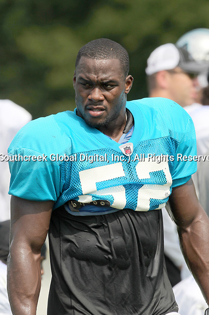 30July2010: Carolina Panther linebacker Jon Beason (#52).  The Panthers held an afternoon training camp session at Wofford College in Spartanburg, South Carolina.