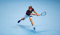 Alexander 'Sascha' ZVEREV (Germany) in action during the NITTO ATP World Tour Finals round robin match between Marin Cilic and Alexander Zverev at the O2, London, England on 12 November 2017. Photo by Andy Rowland.