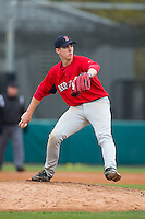 Seth Hardin (96) of Providence Grove High School in Climax, North Carolina playing for the Boston Red Sox scout team at the South Atlantic Border Battle at Doak Field on November 1, 2014.  (Brian Westerholt/Four Seam Images)