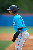 Miami Marlins Victor Mesa Jr. (10) leads off first base during a Minor League Extended Spring Training game against the New York Mets on April 12, 2019 at the First Data Field Complex in St. Lucie, Florida.  (Mike Janes/Four Seam Images)