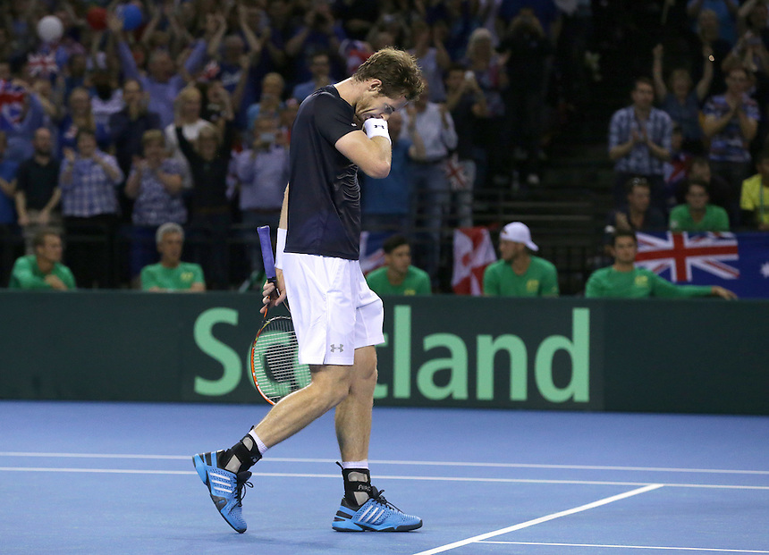 Great Britain&rsquo;s Andy Murray celebrates his victory over Australia&rsquo;s Bernard Tomic - Andy Murray def Bernard Tomic 7-5, 6-3, 6-2<br /> <br /> Photographer Stephen White/CameraSport<br /> <br /> International Tennis - 2015 Davis Cup by BNP Paribas - World Group Semi-Final - Great Britain v Australia - Day 3 - Sunday 20th September 2015 - The Emirates Arena - Glasgow<br /> <br /> &copy; CameraSport - 43 Linden Ave. Countesthorpe. Leicester. England. LE8 5PG - Tel: +44 (0) 116 277 4147 - admin@camerasport.com - www.camerasport.com.