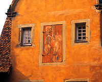 Detail of colourful traditional building with illustrated doorway, Schwabisch Hall, Bavaria, southern German