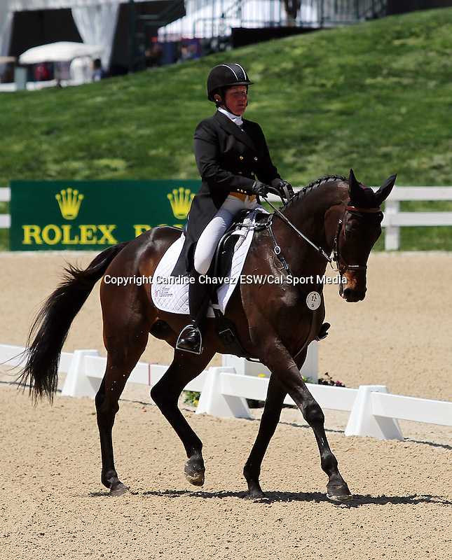 April 23, 2015:  #22 Tsunami and Sarah Cousins competing on the first day of Dressage at the Rolex Three Day Event at the Kentucky Horse Park in Lexington, KY.  Candice Chavez/ESW/CSM