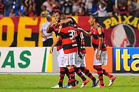 ATENCAO EDITOR: FOTO EMBARGADA PARA VEÍCULOS INTERNACIONAIS. - RIO DE JANEIRO, RJ, 16 DE SETEMBRO DE 2012 - CAMPEONATO BRASILEIRO - FLAMENGO X GREMIO - Jogadores do Flamengo comemoram o gol de Adryan, durante partida contra o Gremio, pela 25a rodada do Campeonato Brasileiro, no Stadium Rio (Engenhao), na cidade do Rio de Janeiro, neste domingo, 16. FOTO BRUNO TURANO BRAZIL PHOTO PRESS