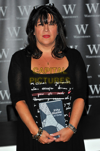 E. L. James signs copies of her book 'Fifty Shades of Grey' at Waterstones, Piccadilly, London, England..September 6th, 2012.half length black top red lipstick bracelet bangles cardigan .CAP/CJ.©Chris Joseph/Capital Pictures.