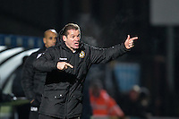 Newport County Manager Graham Westley gives instructions during the Sky Bet League 2 match between Wycombe Wanderers and Newport County at Adams Park, High Wycombe, England on 2 January 2017. Photo by Andy Rowland.