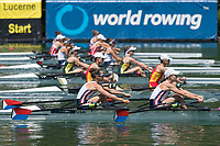 Lucerne, SWITZERLAND, 13th July 2018, Friday USA LW2X., Bow, <br /> Emily SCHMIEG and Mary<br /> JONES, Start Area FISA World Cup series, No.3, Lake Rotsee, Lucerne, &copy; Peter SPURRIER,