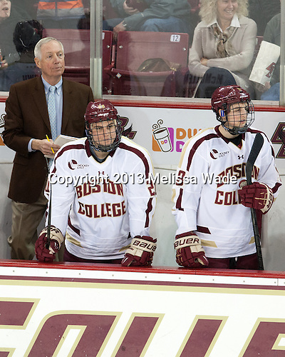 Jerry York (BC - Head Coach), Peter McMullen (BC - 20), Travis Jeke (BC - 8) - The visiting University of Maine Black Bears defeated the Boston College Eagles 3-1 for a weekend sweep on Saturday, January 26, 2013, at Kelley Rink in Conte Forum in Chestnut Hill, Massachusetts.