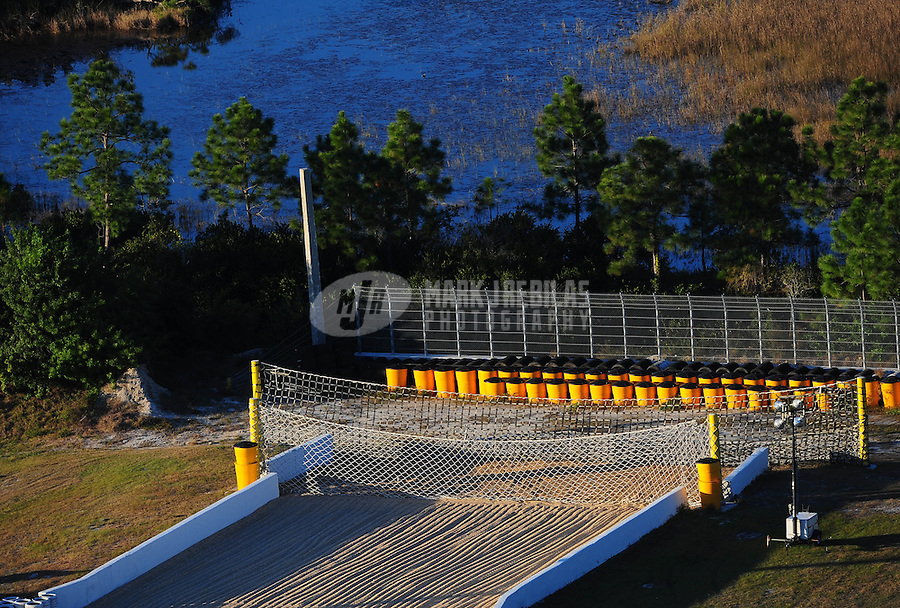 Jan. 20, 2012; Jupiter, FL, USA: Aerial view of the sand trap and catch net containment system at the end of Palm Beach International Raceway during testing at the PRO Winter Warmup. Mandatory Credit: Mark J. Rebilas-