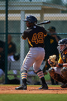 Pittsburgh Pirates Tito Polo (49) during an instructional league intrasquad black and gold game on September 18, 2015 at Pirate City in Bradenton, Florida.  (Mike Janes/Four Seam Images)