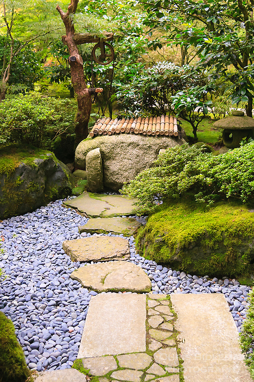 Stone path leads to well and lantern in portland japanese for Japanese stone garden